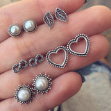 5pairs/set Bohemian Vintage Heart Leaf Simulated Pearl Stud Earrings
