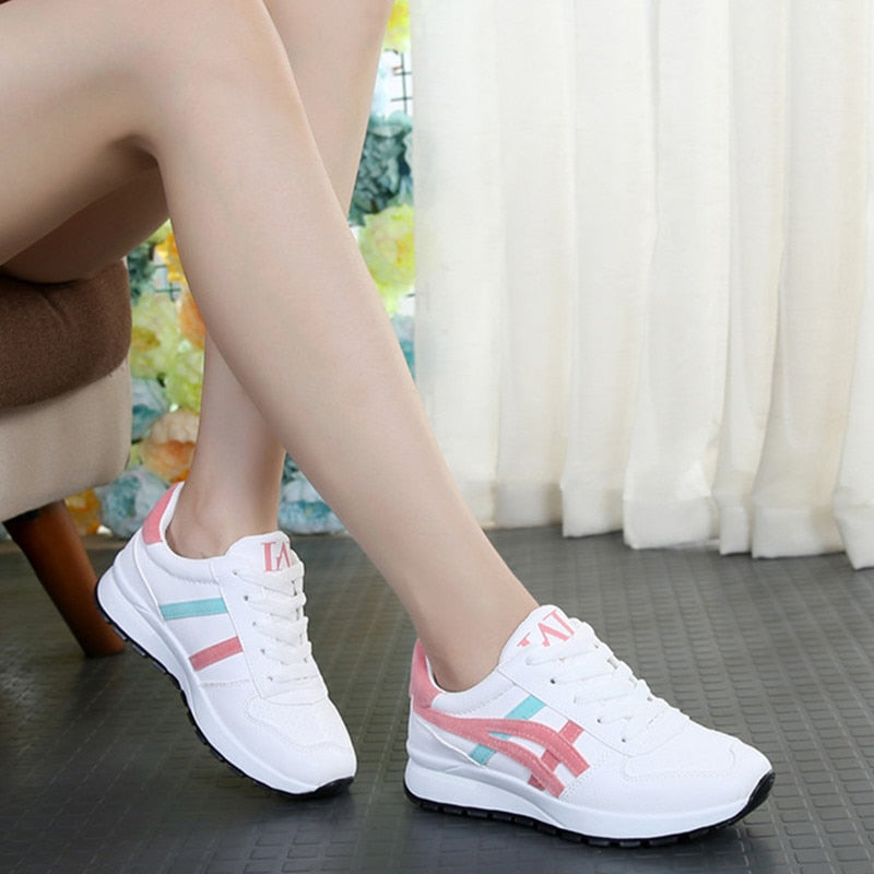 Women Autumn Vulcanized  Breathable Walking Mesh Flat Sneakers