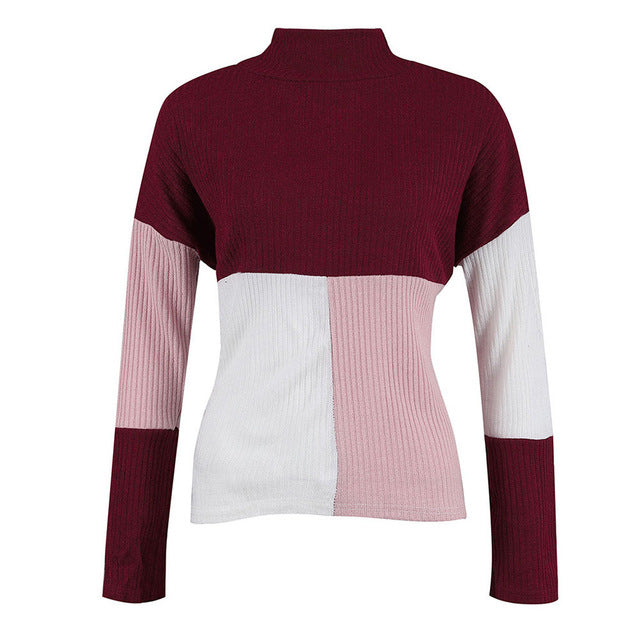 Colorblock Stand Long Sleeve Knitted Sweater