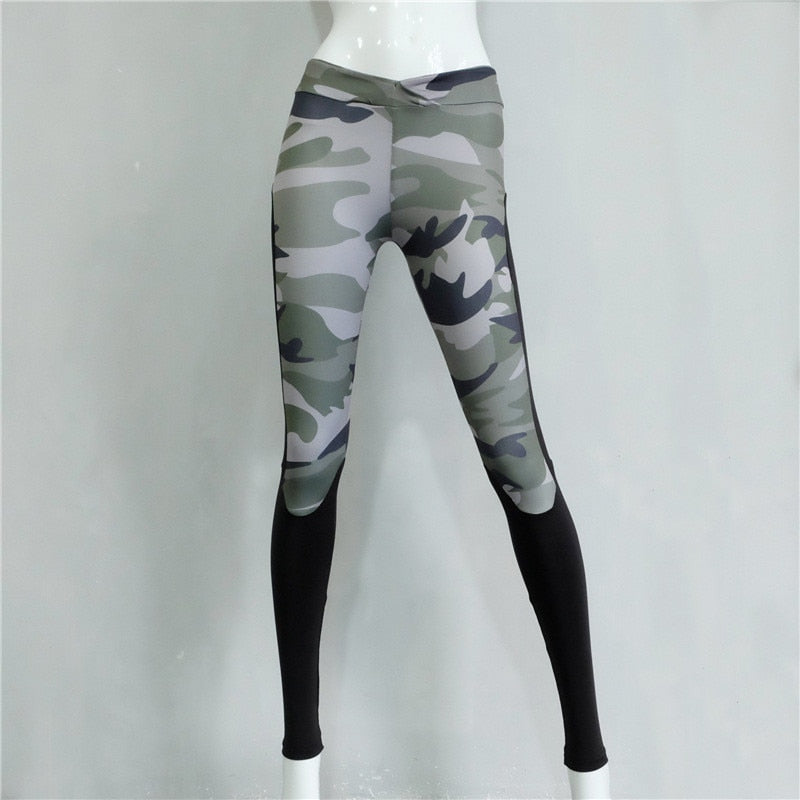 Sexy Print Polyester Ankle-Length Camouflage Pant Patchwork Army Green Leggings