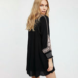Wind Willow  Boho Embroidered Mini Dress Dress