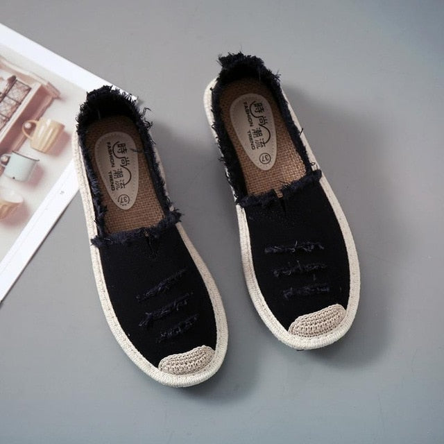 Flats Slip On Lazy Loafers Breathable Canvas Shoes