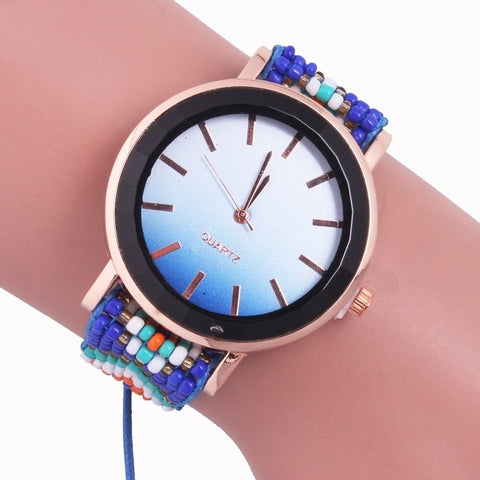 Bohemian style watch small beaded bracelet watch