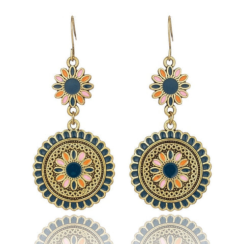 Vintage Ethnic Flower Oil Drop Dangle Hanging Earrings