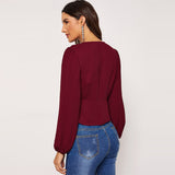 Burgundy Plunging Neck Wrap Surplice Neck Plain Top
