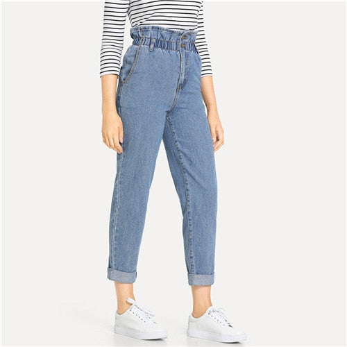 Blue Rolled Hem Frill Plain Pocket Zipper High Waist Jeans