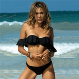 Ladies Retro Plaid Bandeau Off Shoulder Bikini