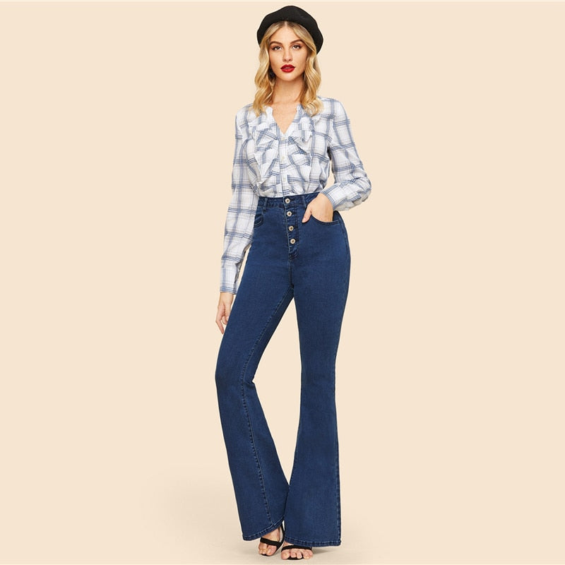 Blue Button Up Flare Hem Jeans