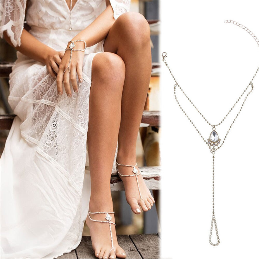 Water Drop silver anklet chain