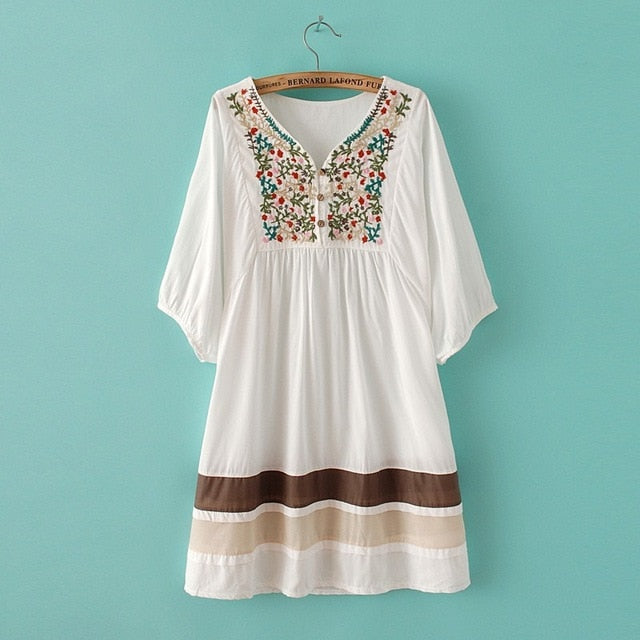 Embroidered Ethnic style stitching top