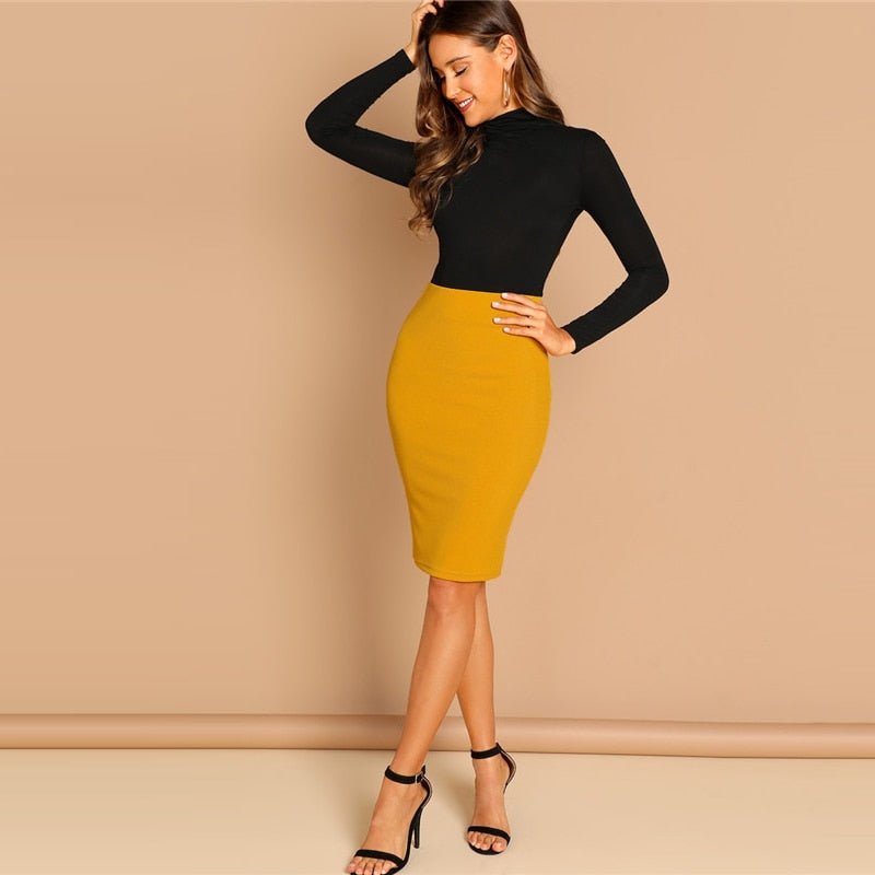 Ginger Solid Bodycon Skirt Elegant Plain Mid Waist Pencil Skirt