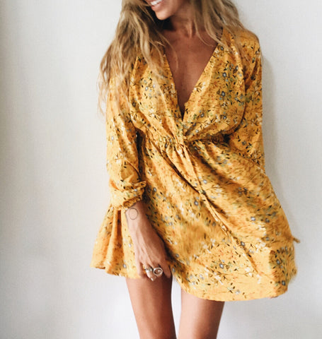 Summer Floral Print Sexy Neck Dress