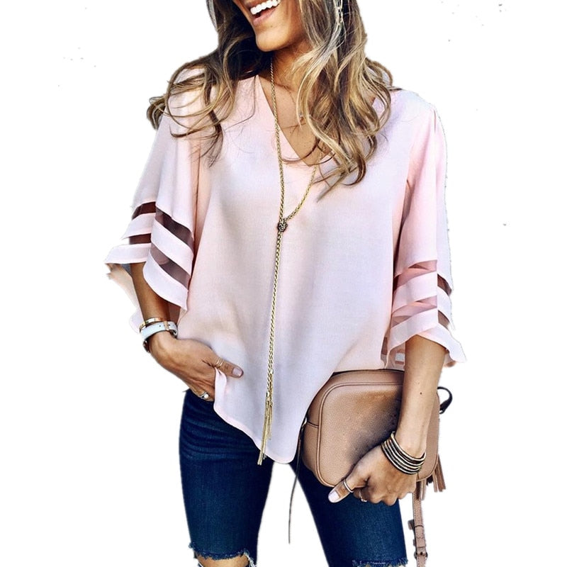 Mesh Stitching Sexy V Neck Casual Loose 3/4 Flare Sleeve Solid Top