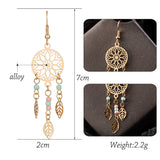 Vintage Ethnic Golden Leaf Dangle Drop Earrings
