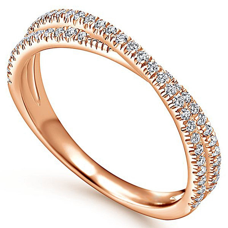 Rose Gold Endless Beauty Twisting Wave Cubic Zircon Ring