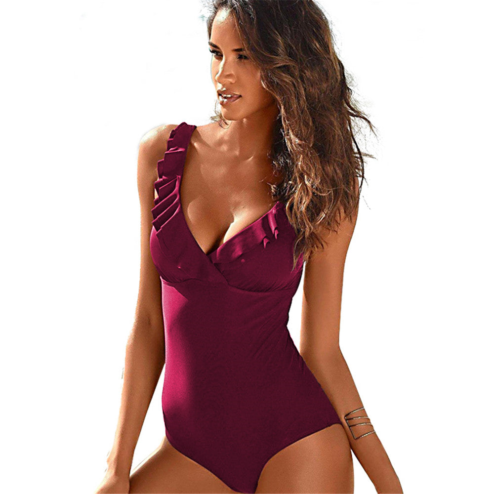 One Piece Push Up Monokini Tie Up Swim Suit Bodysuit Monobikini