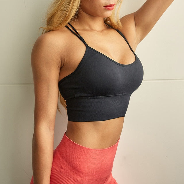 Sexy Criss Cross Sport Bra Top Fitness Gym Crop Top