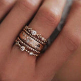 5pcs/lot  Sparkly Boho Crystal Ring