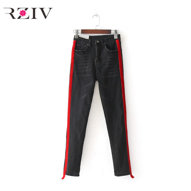 stretch denim solid color stitching waist black  and skinny jeans