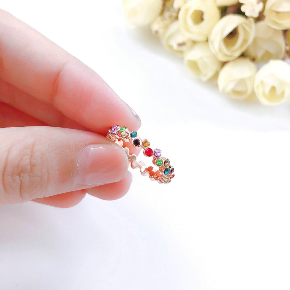 Elegant Style Multicolor Crystal Rose Gold Color Ring