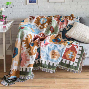Rectangle Geometry Thread Decorative Sofa Blanket
