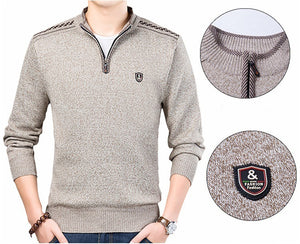 Slim Fit Brand Knitted Pullovers Turtleneck Solid Color Casual Sweater