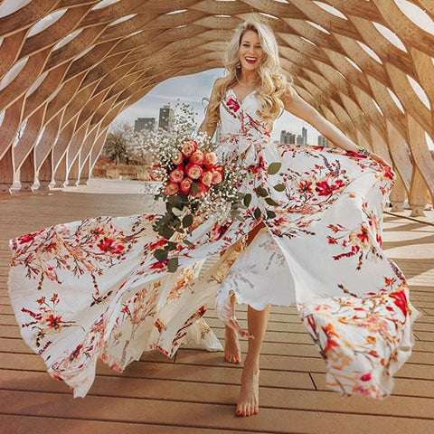 Bohemian floral print  Elegant long dress