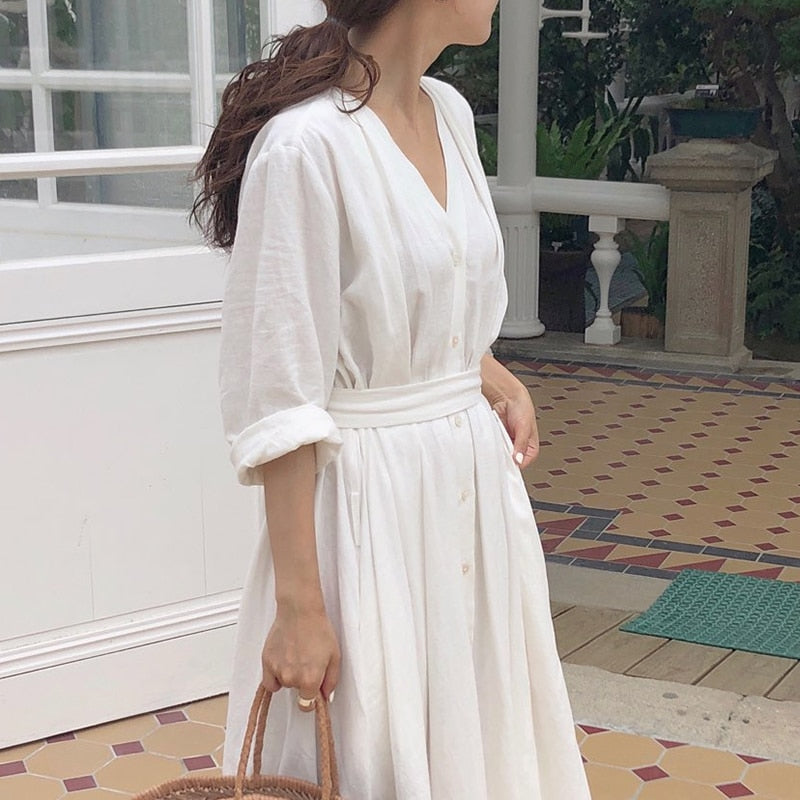 Casual Solid Ankle-Length Party Dress Office Dress