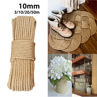 10mm 3-50m Natural Jute Ropes Twine Natural Hemp Cord DIY Nordic Home Handmade