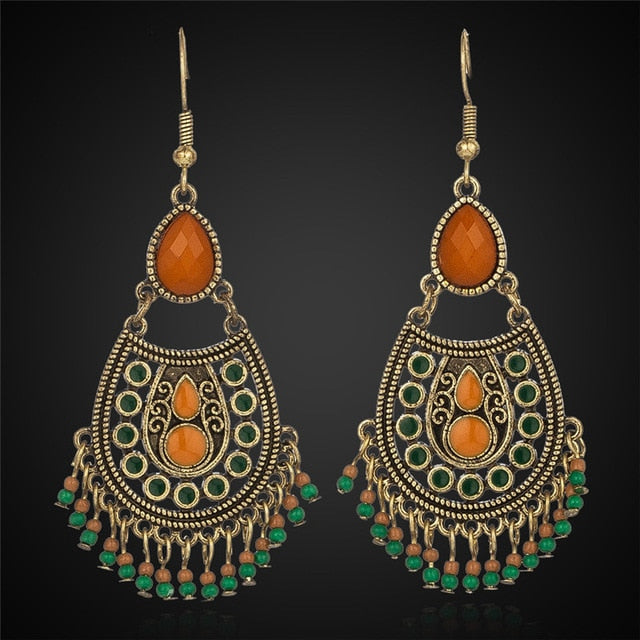 Bohemian boho acrylic beads tassel earrings