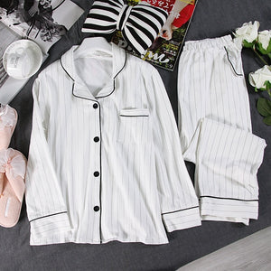 Simple White Striped Pajamas Sets