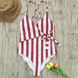 Striped XXL Large Plus Size One Piece Front Tie High Waist Monokini