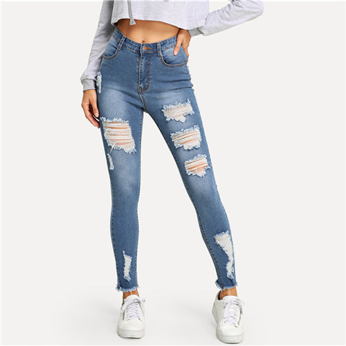 Ripped Frayed Edge Faded Wash Blue Skinny Zipper Fly Mid Waist Jean