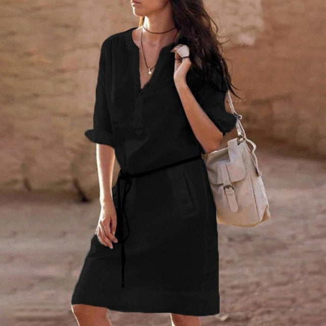 Cotton Linen Long Sleeve V-neck Ladies  Dress