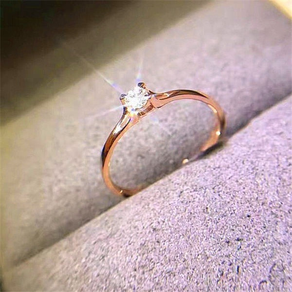Boho Crystal Zircon Stone Ring Cute Small Finger Ring
