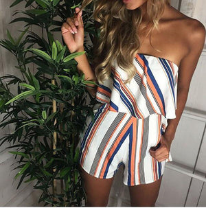 Slash Neck Striped Ruffle Jumpsuit