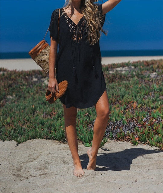 Sexy Hollow Black Cotton Tunic Dress