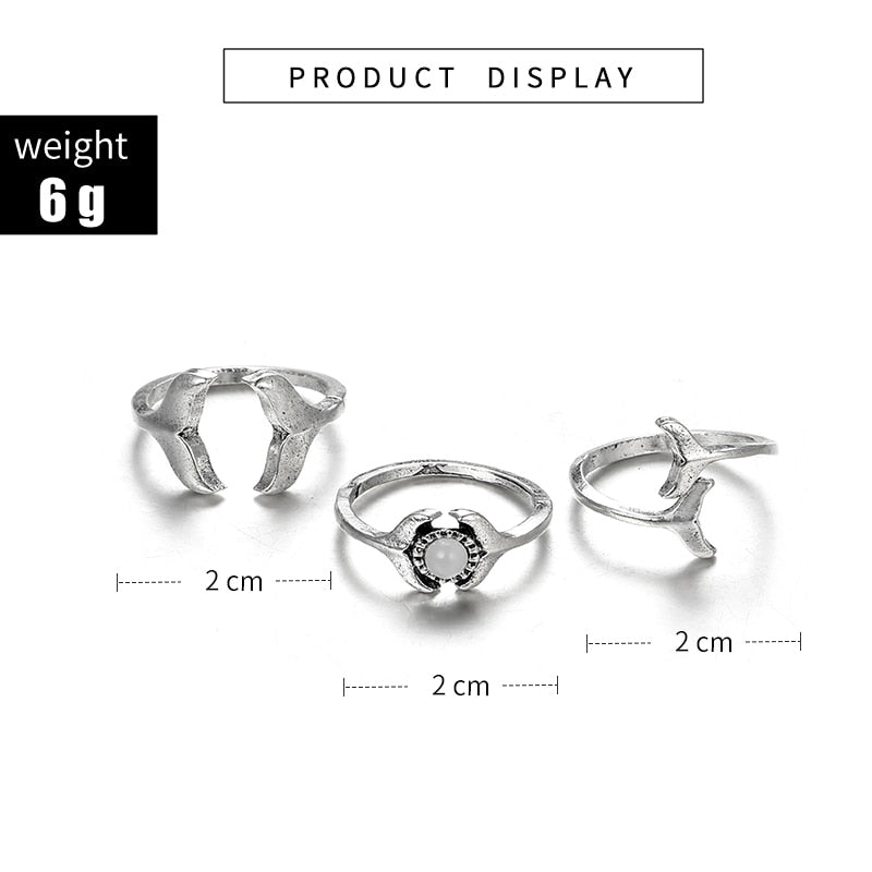 3pcs Vintage Antique Silver Whale Tail Rhinestone Knuckle Rings Set