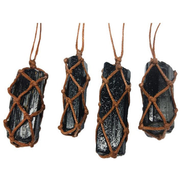 1 Pcs Natural Black Tourmaline Retro Raw Gemstone Pendant Crystal Hand-Woven necklace