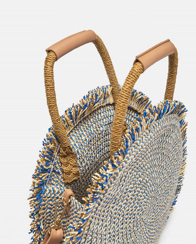 Straw Tassel Barrel-shaped Tote Handbag