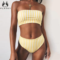 Retro Sexy Yellow Striped Strapless Bikini