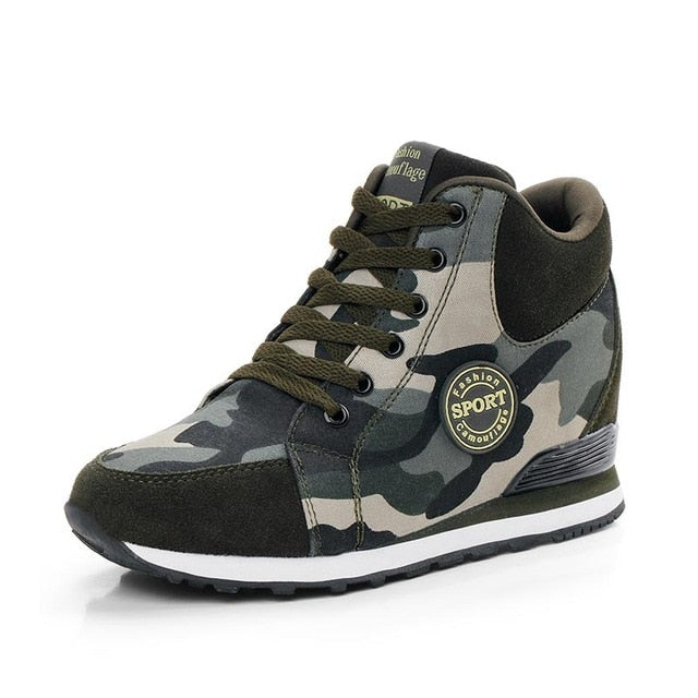 Women fashion camouflage high canvas sneakers