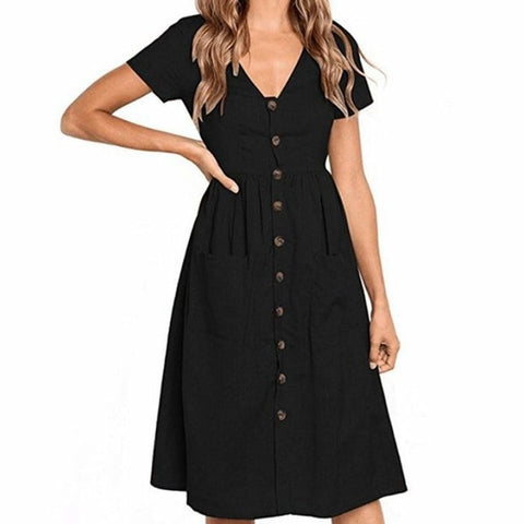 Classic Pockets Button Swing Dresses