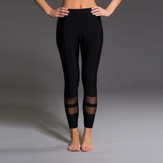Grenadine Striped Mesh Patchwork Yoga Pant