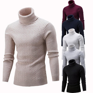 Turtleneck Fashion Solid Knitted Mens Sweaters