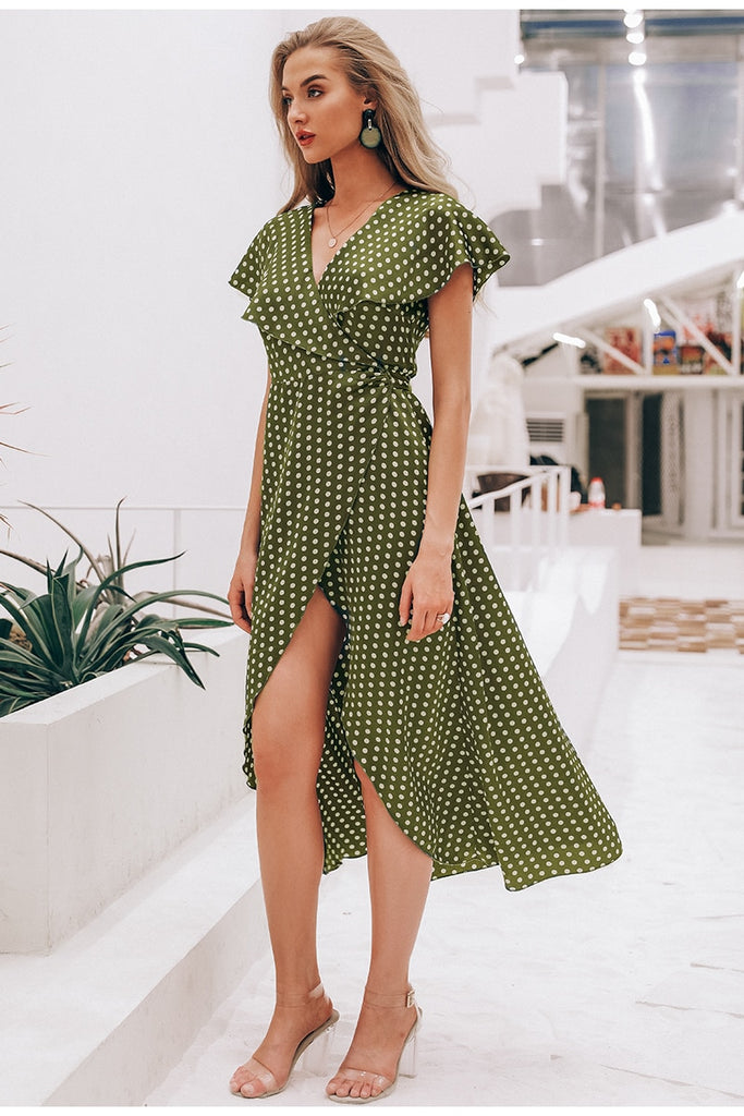 Vintage dots print satin dress