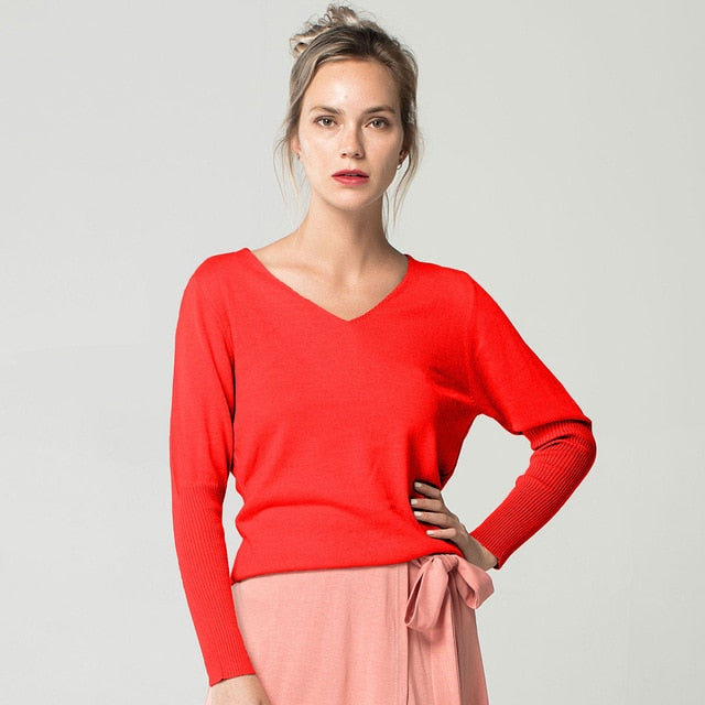 Spring Autumn V-Neck Cashmere Sweater