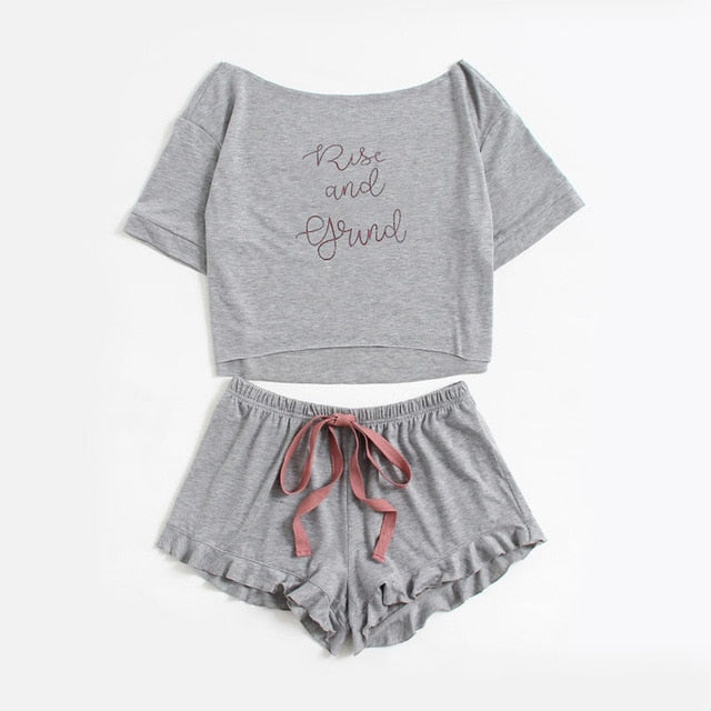 Grey Boat Neck Long Sleeve Pajama Set