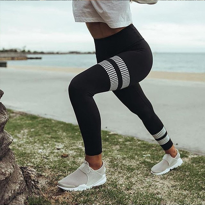 High Waist Stripe Legging Gym Athletic Yoga Legging