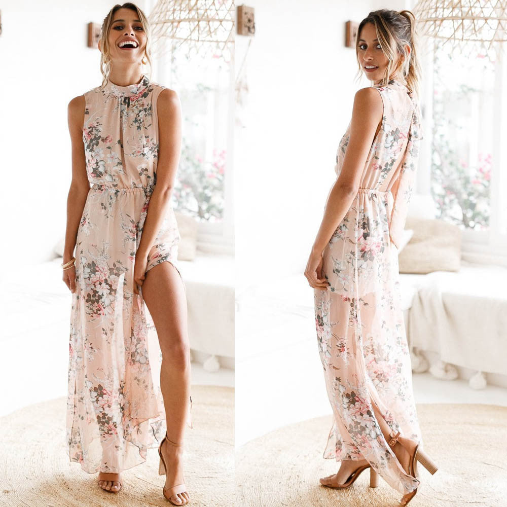 Fashion Boho Floral Print Chiffon Backless dress